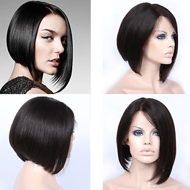 8cb4ca57 Premierwigs Ekte hår Helblonde Blonde Forside Parykk Rett Parykk 130% Hair  Tetthet Naturlig hårlinje Afroamerikansk parykk 100 % håndknyttet Dame Kort  ...