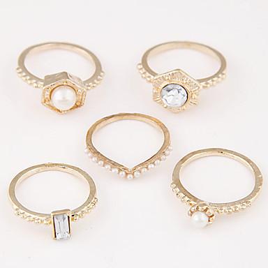 levne Dámské šperky-Dámské Sada kroužků 5pcs Zlatá Černá Stříbrná Slitina dámy Neobvyklé Jedinečný design Denní Šperky