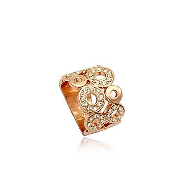 billige Motering-Dame Statement Ring Krystall Sølv Gylden Krystall Sølvplett Fuskediamant Luksus Europeisk Mote Fest Daglig Smykker Hul / Legering