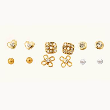 levne Dámské šperky-Dámské Křišťál Peckové náušnice Srdce Kytky Křišťál Náušnice Šperky Zlatá Pro Párty Denní Ležérní