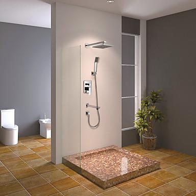 duschkran modern krom väggmonterad dubbel handtag mässing med fyrkantigt duschhuvud och handdusch badkar mixer kranar