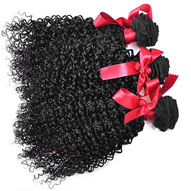 povoljno Ekstenzije od ljudske kose-3 paketa Brazilska kosa Kovrčav afro Ljudske kose plete Isprepliće ljudske kose Proširenja ljudske kose / 8A