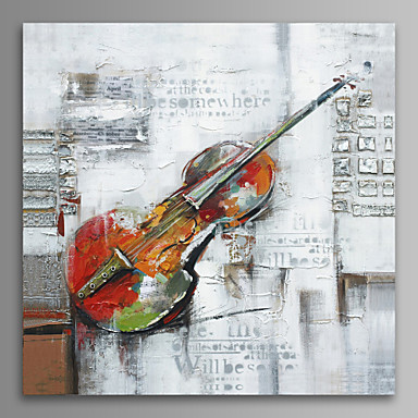 Hand Painted Violin Oil Painting On Canvas Wall Art With Stretched ...