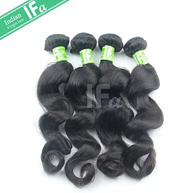 4 paket Indiskt hår Löst vågigt Äkta hår Human Hår vävar Hårförlängning av äkta hår Människohår förlängningar / 8A