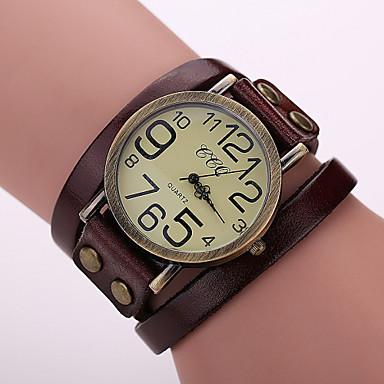 levne Dámské-Dámské Náramkové hodinky Křemenný Wrap Kůže Černá / Bílá / Modrá Hodinky na běžné nošení Analogové dámy Vintage Módní - Červená Zelená Modrá Jeden rok Životnost baterie