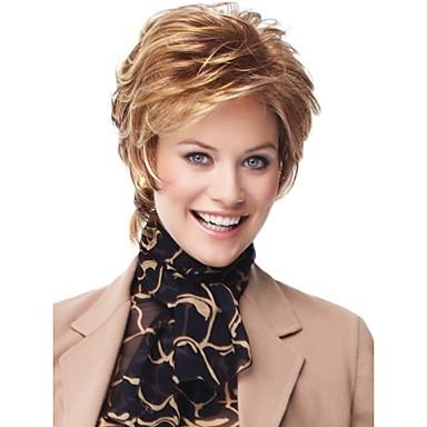 Syntetiska peruker Vågigt Vågigt Peruk Blond Korta Blond Syntetiskt hår Dam Blond