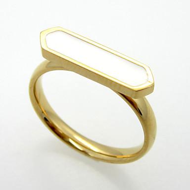 billige Motering-Herre Dame Band Ring Onyks Hvit Svart Blå Agat Titanium Stål Personalisert Geometrisk Unikt design Julegaver Fest Smykker Hjerte
