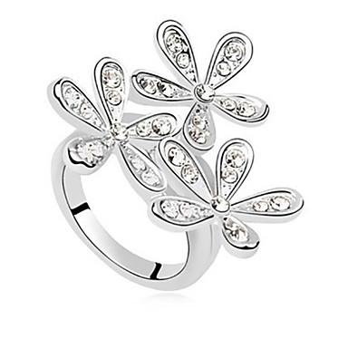 billige Motering-Statement Ring Krystall Sølv Gylden Strass Legering damer Bryllup Fest Smykker Snøfnugg