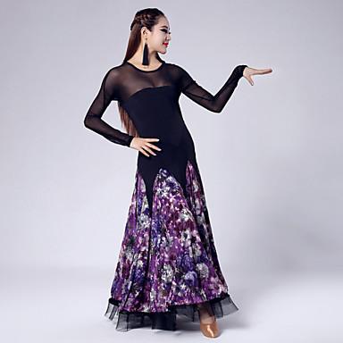Standardní tance Šaty Dámské Výkon Tyl   Samet Vzor   Tisk Dlouhý rukáv  Přírodní Šaty   Moderní tanec 4619906 2019 –  78.74 8c48d0a61b