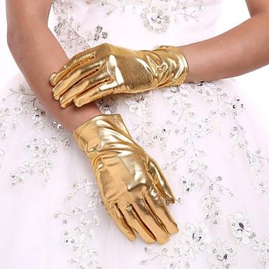 preiswerte Handschuhe für die Party-Kunstleder Handgelenk-Länge Handschuh Brauthandschuhe Mit Rüschen