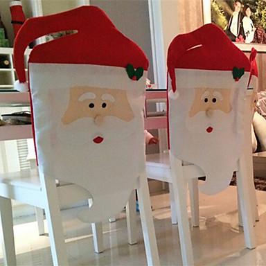 2st 2015 nya mode jultomten Red Hat ryggstöd täcker hem jul middagsbordet part dekor för jul