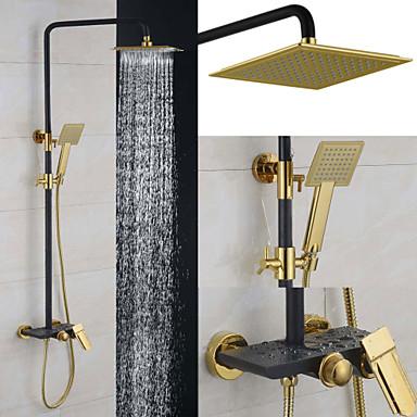 Duschkran - Nutida Krom Väggmonterad Keramisk Ventil Bath Shower Mixer Taps / Mässing