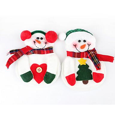 2st snögubbe jul xmas silver porslin middag dekor bestickhållare (slumpvis färg)