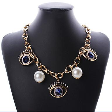 povoljno Modne ogrlice-Žene Choker oglice Zlo oko Europska Moda Biseri Umjetno drago kamenje Legura zaslon u boji Oko koje štiti od uroka Ogrlice Jewelry Za