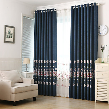 [$89.63] Maßgfertigt Verdunkelung Verdunklungsvorhänge Vorhänge zwei Panele  2*(W183cm×L213cm) Beige / Stickerei / Wohnzimmer