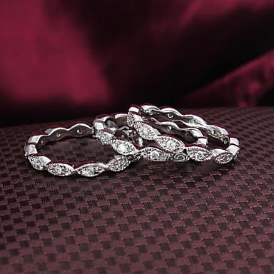 preiswerte Ringe Set-Damen Schmuckset Bandring Kubikzirkonia Silber Zirkonia versilbert 18 karat Gold Hochzeit Party Schmuck