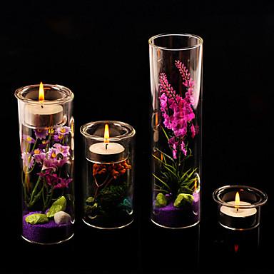verre de cristal bougeoir vase pot + faux fleur + sable coloré décor ...