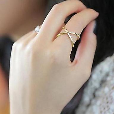 billige Motering-Dame Band Ring tommelfingerring Kubisk Zirkonium Sølv Gylden Zirkonium Legering damer Daglig Avslappet Smykker X-ring Hjerte Kjærlighed