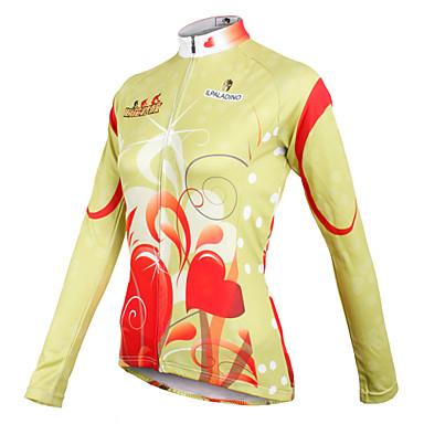 ILPALADINO Women s Long Sleeve Cycling Jersey - Light Yellow Stripe Plus  Size Bike Jersey Top 207a98717