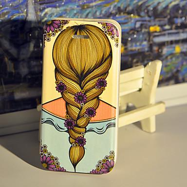 flickor och blommor pu läderväska med skärmskydd och USB-kabel och penna för iPhone 5 / 5s