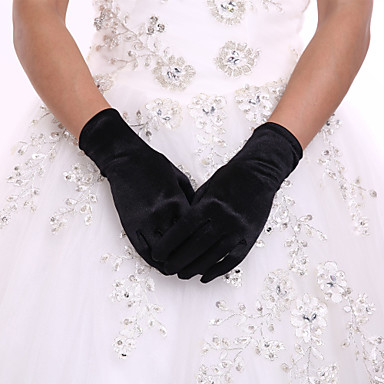 cheap Party Gloves-Spandex / Polyester Wrist Length Glove Classical / Bridal Gloves / Party / Evening Gloves With Solid