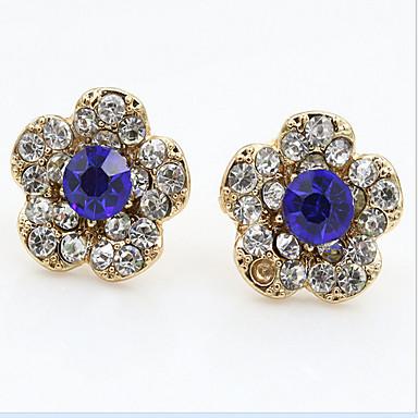Kristall Dubb Örhängen Blomma Kontor Ledigt Mode Kubisk Zirkoniumoxid Bergkristall örhängen Smycken Marinblå Till 2pcs