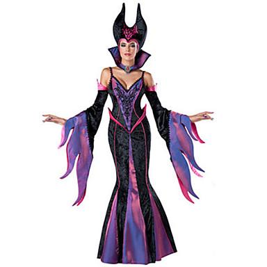 häxa Sagolikt Cosplay Kostymer / Dräkter Festklädsel Dam Halloween Festival / högtid Spandex Terylen Svart Dam Karnival Kostymer Lappverk / Hatt