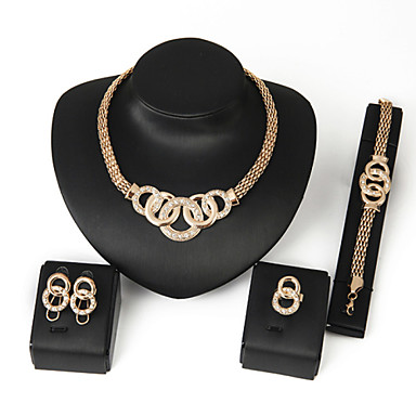 cheap Jewelry Sets-Women's Alloy Golden Crystal Neclace & Earrings&Bracelet Jewelry Set for Wedding Party