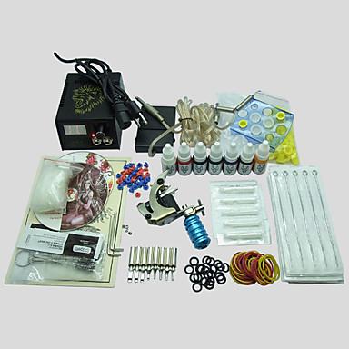 BaseKey Tattoo Machine Startkit, 1 pcs Tatueringsmaskiner med 7 x 10 ml tatueringsfärger - 1 x stål tatueringsmaskin för linjer och