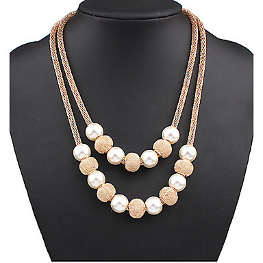 Women's Pearl Layered Necklace Pearl Necklace Double Mother Daughter Ball Ladies European Double-layer Fashion Pearl Alloy Screen Color Necklace Jewelry Special Occasion Birthday Gift