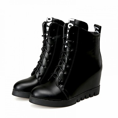 4ee87ba6830 Women s Shoes Leatherette Wedge Heel Combat Boots Boots Outdoor   Office    Career   Casual Black   Red 4593728 2019 –  27.99