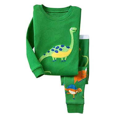 povoljno Odjeća za dječake-Dijete koje je tek prohodalo Crtići Dnevno Praznik Izlasci Print Dugih rukava Regularna Normalne dužine Pamuk Komplet odjeće Djetelina