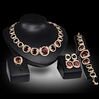 levne Dámské šperky-Dámské Citrín Synthetic Ruby Náramky s přívěšky Visací náušnice Prohlášení Náhrdelníky Oval Prohlášení dámy Luxus Party Řetízek Elegantní Zirkon Pozlacené Umělé diamanty Náušnice Šperky Zlat