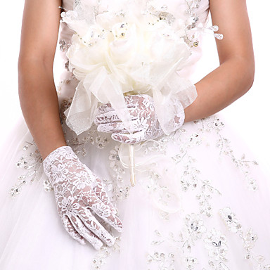 cheap Party Gloves-Lace / Cotton Wrist Length Glove Charm / Stylish / Bridal Gloves With Embroidery / Solid