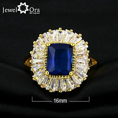 billige Båndringe-Dame Mørkeblå Marineblå Gullbelagt Elegant Daglig Smykker Emerald Cut