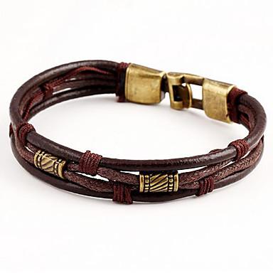 Armband av Remmar Läder Armband Multi lager stapelbar vävd damer Multi lager Läder Armband Smycken Svart / Brun Till Dagligen Casual