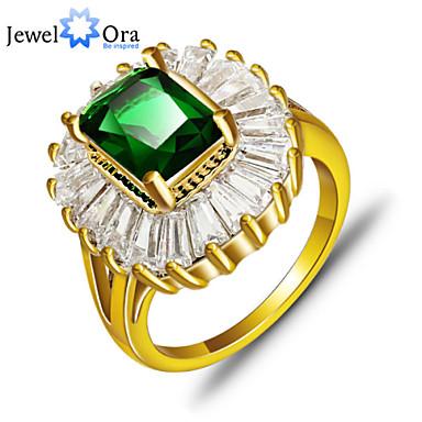 Dam Bandring Smaragd Grön Guldpläterad Mode Elegant Party Smycken