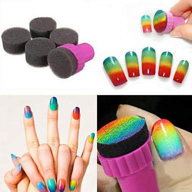 voordelige Nagelgereedschap & Apparatuur-1 set diy 1 stamper + 4 verwisselbare spons nail art design schaduw overdracht stamper