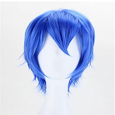 billige Kostymeparykk-Syntetiske parykker Kostymeparykker Bølget Stil Lokkløs Parykk Blå Syntetisk hår Herre Blå Parykk Kort
