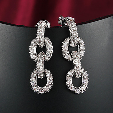 Dam Kubisk Zirkoniumoxid Dubb Örhängen Zircon Försilvrad örhängen Smycken Silver Till Bröllop Dagligen Casual