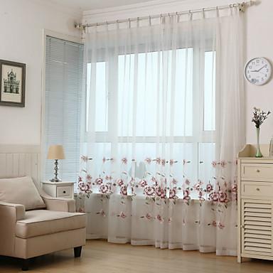 ren gardiner nyanser två paneler vardagsrum blad polyester broderi
