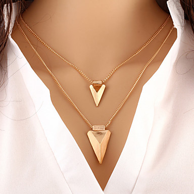 levne Dámské šperky-Dámské vrstvené Náhrdelníky dvouvrstvé Dvojité Arrow dámy Přizpůsobeno Základní Evropský Slitina Zlatá Náhrdelníky Šperky Pro Zvláštní příležitosti Narozeniny Dar Denní Ležérní