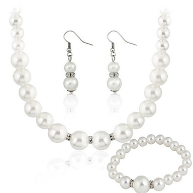cheap Jewelry Sets-Women's Clear Jewelry Set Earrings Jewelry White For Party Gift Wedding Party / Necklace