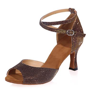 ราคาถูก Trendy Shoes-สำหรับผู้หญิง รองเท้าเต้นรำ เลื่อม ลาติน รองเท้าแตะ ส้นป้าน ไม่ตัดเฉพาะ น้ำตาล / น้ำเงิน / ทอง / ในที่ร่ม / Performance / หนังสัตว์ / ฝึก