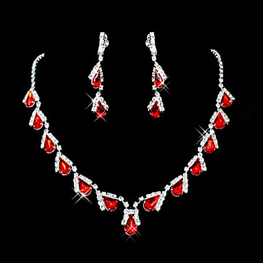 cheap Jewelry Sets-Women's Red Synthetic Ruby Pendant Necklace Earrings Pear Cut Briolette Drop Ladies Party Elegant everyday Cubic Zirconia Imitation Diamond Earrings Jewelry Red / Red Necklace & Earrings / Blue