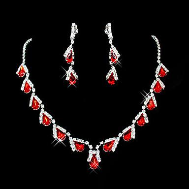 levne Dámské šperky-Dámské Červená Synthetic Ruby Náhrdelníky s přívěšky Náušnice Hruška Briolette Kapka dámy Party Elegantní Na každý den Zirkon Umělé diamanty Náušnice Šperky Červená / Červený náhrdelník a náušnice