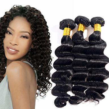 povoljno Ekstenzije od ljudske kose-3 paketa Brazilska kosa Duboko Val Ljudske kose plete Isprepliće ljudske kose Proširenja ljudske kose / 8A