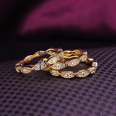 preiswerte Ringe Set-Damen Schmuckset Bandring Kubikzirkonia 3 Stück Golden 18 karat vergoldet Zirkonia vergoldet damas Modisch Hochzeit Party Schmuck