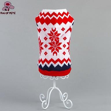 Katt Hund Tröjor Huvtröjor Vinter Hundkläder Röd Kostym Cotton Blommig Botanisk Jul Nyår XS S M L XL