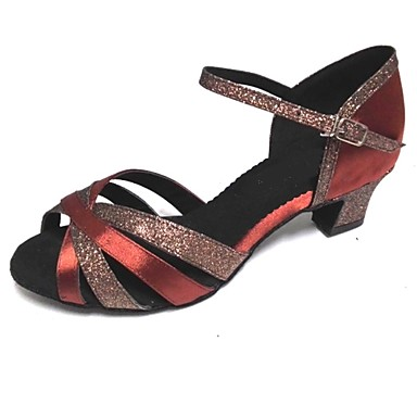 preiswerte Samba Tanzschuhe-Damen Tanzschuhe Glitzer / Satin / Seide Schuhe für den lateinamerikanischen Tanz Sandalen Maßgefertigter Absatz Maßfertigung Braun / Innen / Leistung / Praxis / Professionell